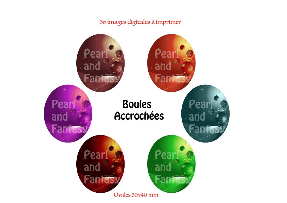 "Images Digitales Ovales ""Boules Accrochées"" 30x40 mm"