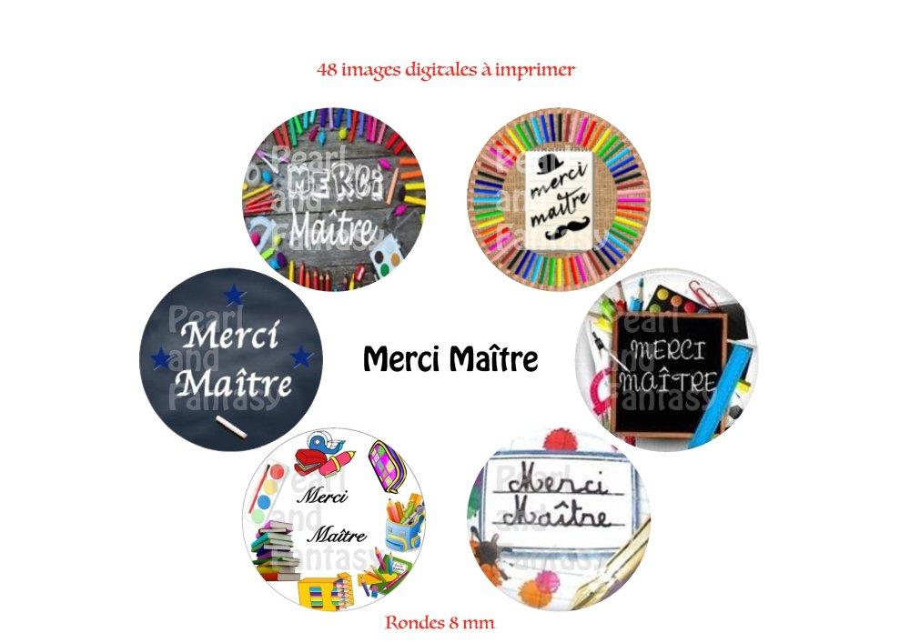 "Images Digitales Rondes ""Merci Maître"" 8 mm"
