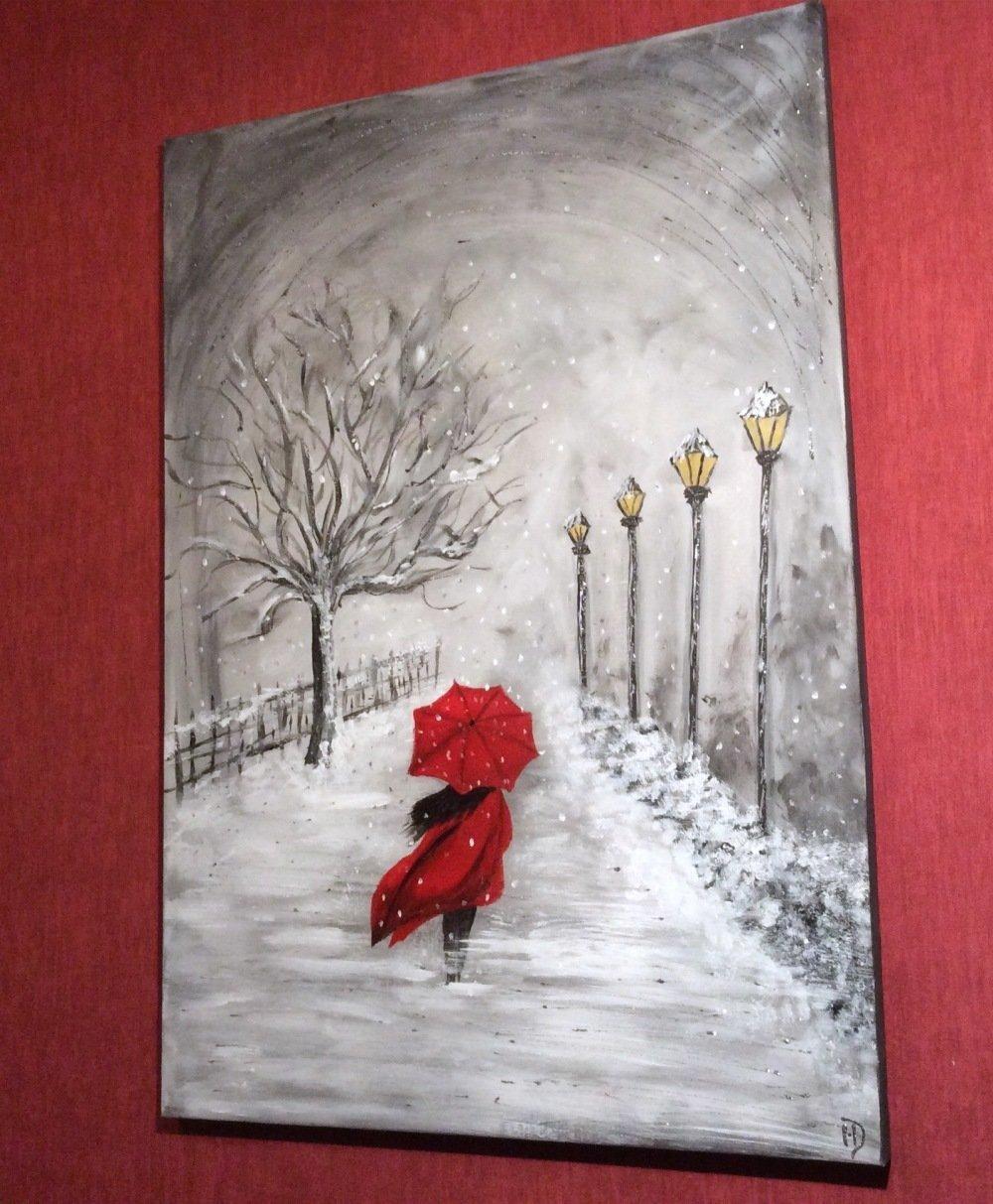 VENDU Tableau parapluie rouge