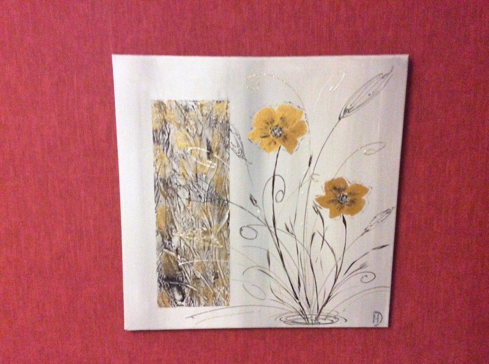 Tableau abstrait fleuri» Bouton d'or»