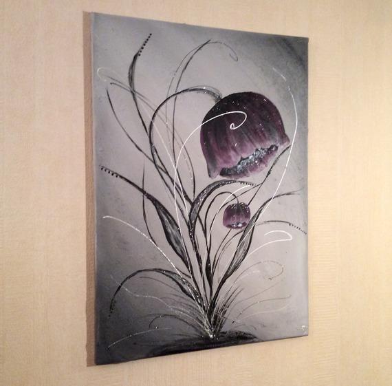 """Décoration murale TabLeau  abstrait violet peinture fleurie """"Pavot violet"""".( Nouvelle collection)"""