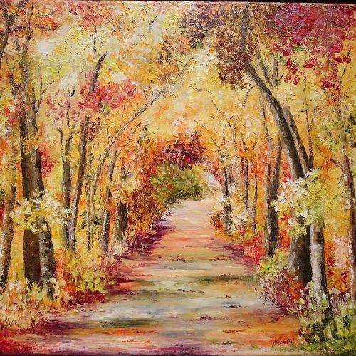 foto de Vendu balade en automne peinture à l'huile au couteau paysage d ...