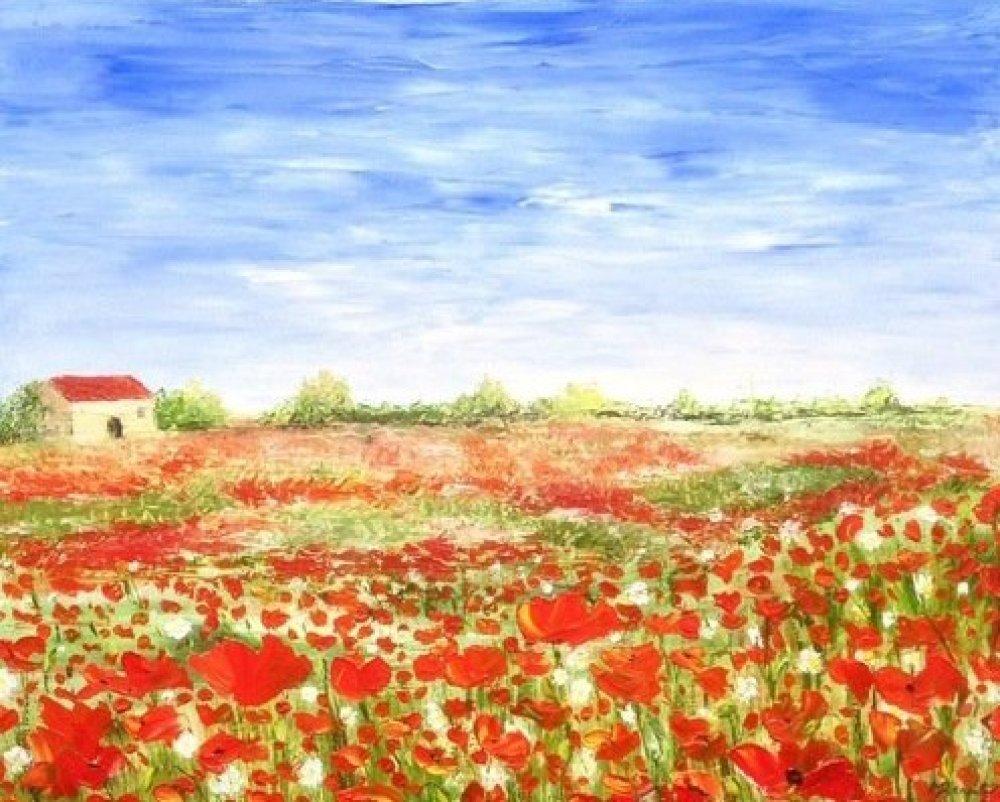 Provence  Tableau Coquelicots   champ de coquelicots - peinture a l'huile au couteau  paysage de Provence
