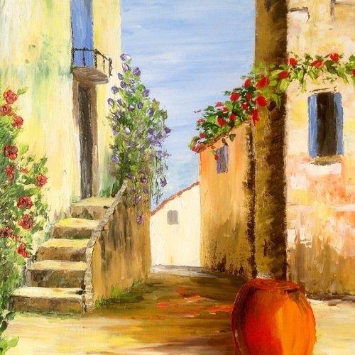Tableau paysage de provence ruelle provenç