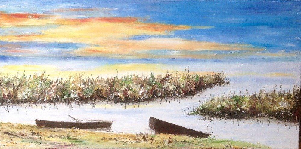 Vendu Tableau panoramique peinture à l'huile au couteau coucher de soleil sur l'étang