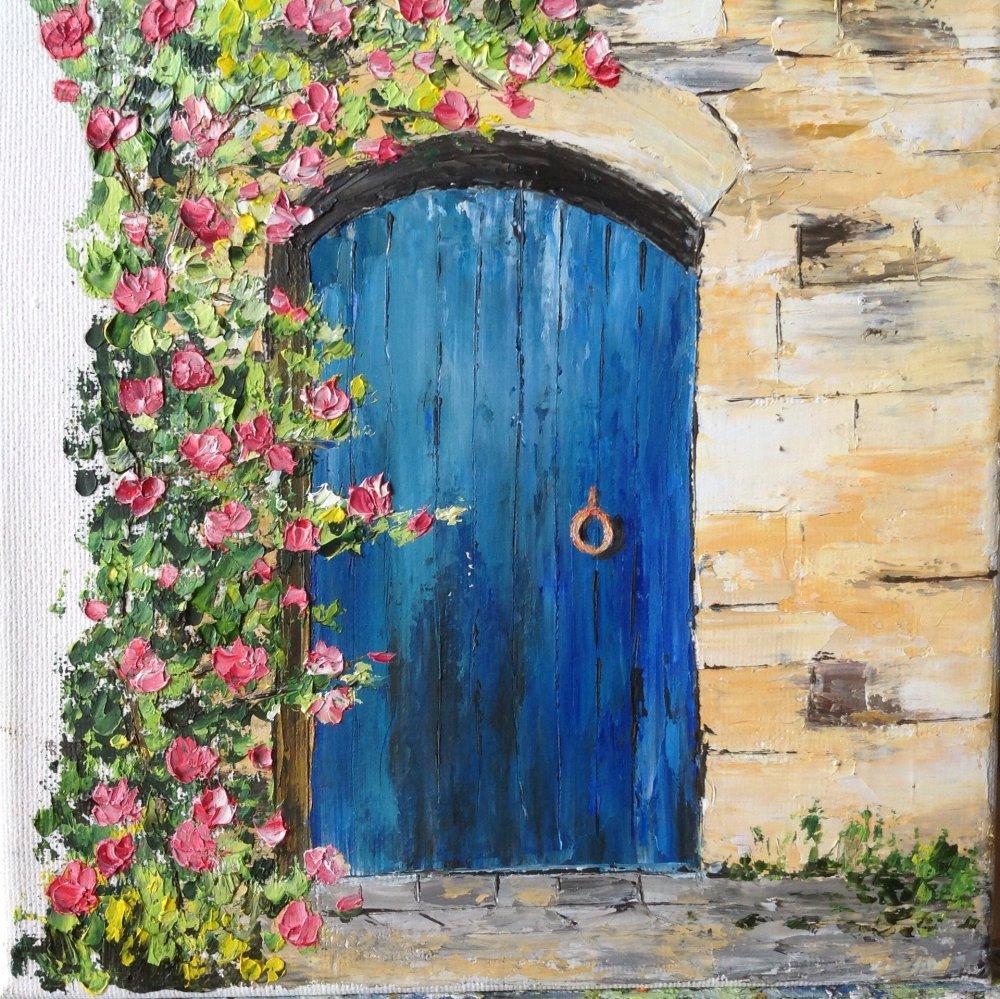 Vendu Tableau la vieille porte bleue peinture à l'huile au couteau