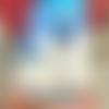 Peinture acrylique la baigneuse tableau bord de mer bretagne air marin bleu bonnet de bain baignade vintage