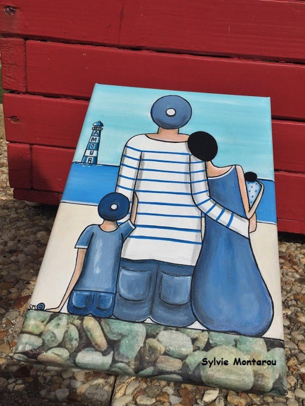 Audacieuse Tableau de famille face à la mer peinture acrylique bord de mer XG-03