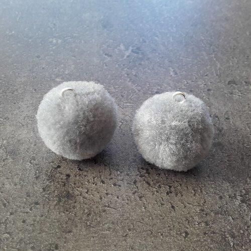 2 pompons métal argenté 52x9mm environ