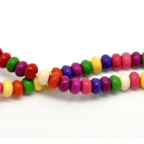 X30 perles en howlite rondes et plates. lot multicolore. 8mm x 5mm.
