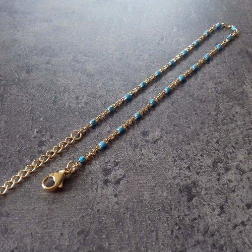 Bracelet ou chaîne de cheville doré en acier inoxydable et email bleu turquoise. a customiser ou à porter seul.