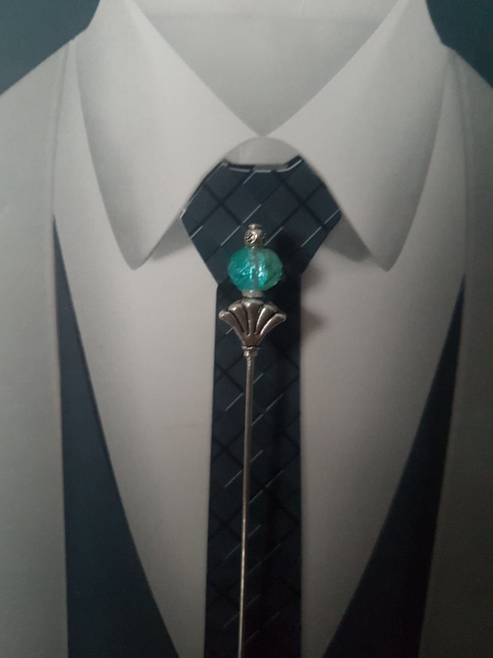 Epingle à cravate ou à lavallière turquoise et argent pour mariage ou pour tous les jours