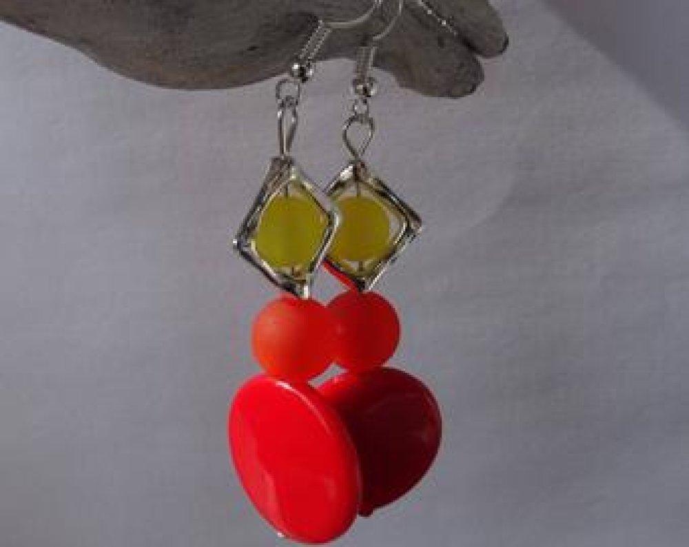 Boucles oreille perles polaris orange et jaune  / mariage / fête / cadeau