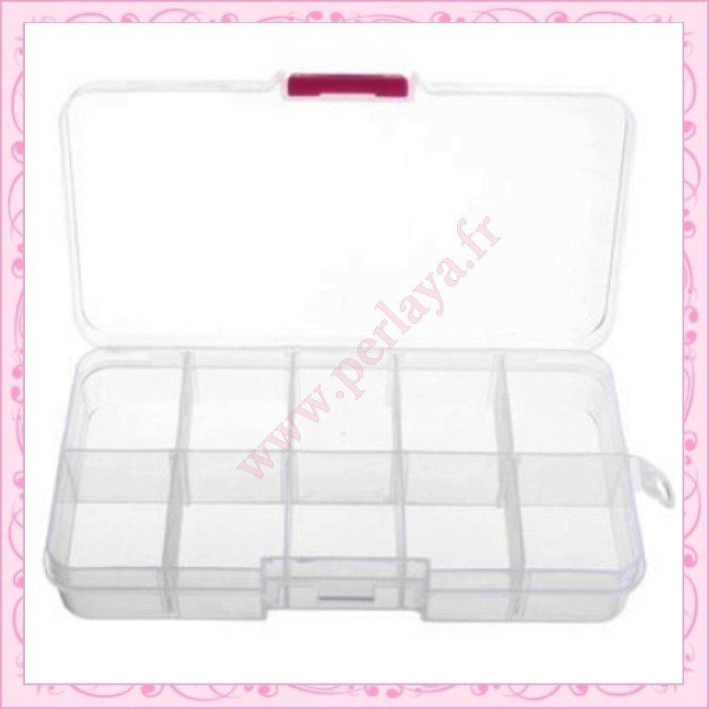 2 boîtes de rangement à 10 compartiments blanches 13cm (Ref:002344X2)