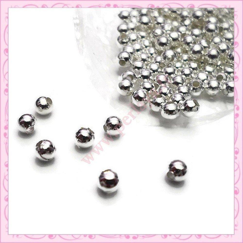 Lot de 500 perles rondes en métal argentées 4mm (Ref:002660)