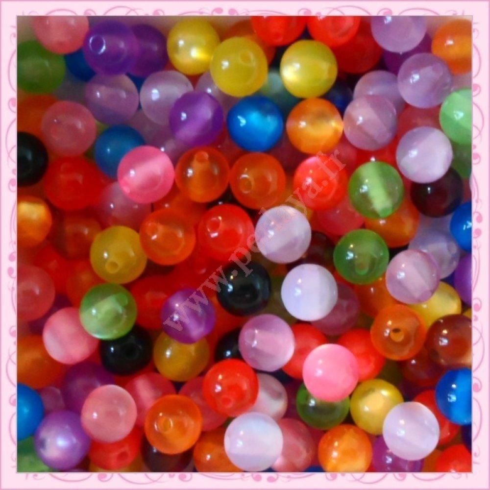 200 perles 8mm effet œil de chat en acrylique (Ref:002896)