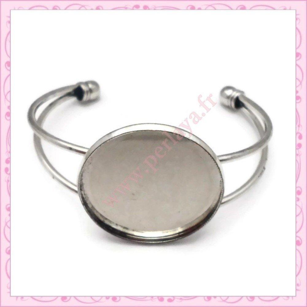 1 bracelet avec support cabochon 30mm argenté foncé en métal (Ref:000286)