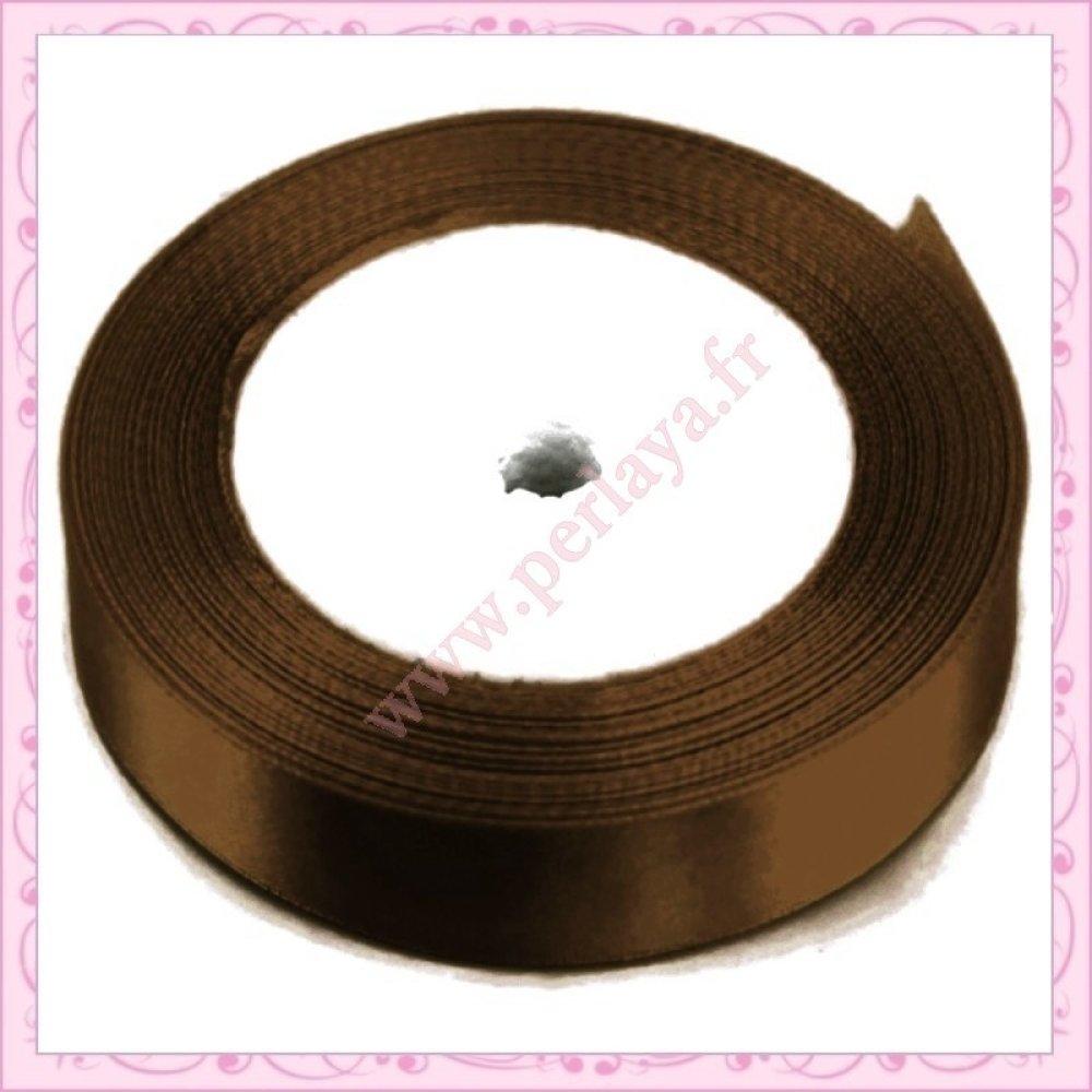 23 mètres de ruban satin 12mm marron chocolat (Ref:002747)