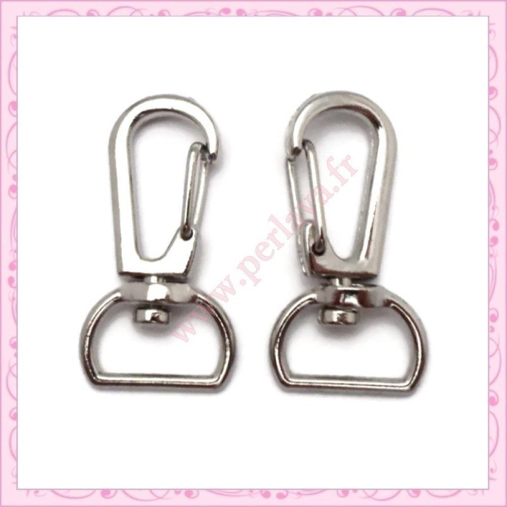 20 mousquetons porte-clefs argentés de 3.4cm (Ref:000018)