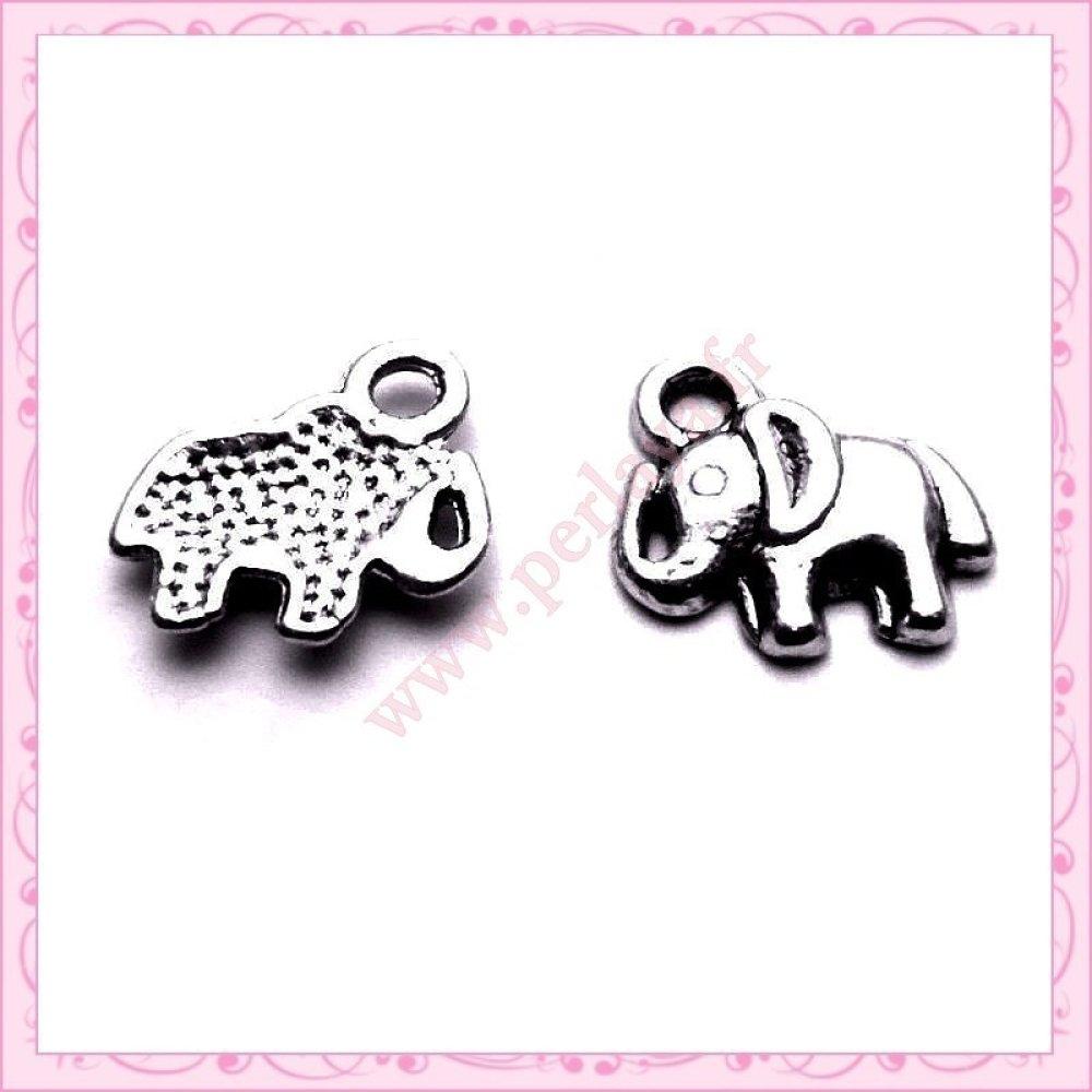 15 petites breloques éléphant en métal argentées 1.1cm (Ref:001719)