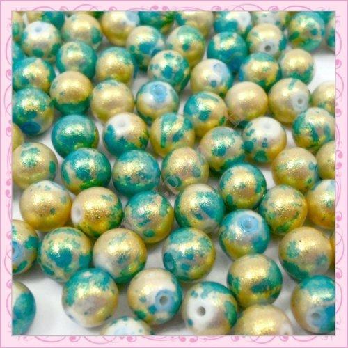 100 Perles fabrication de bijoux Craft 6 mm Verre Faux Pearls-Vert Menthe