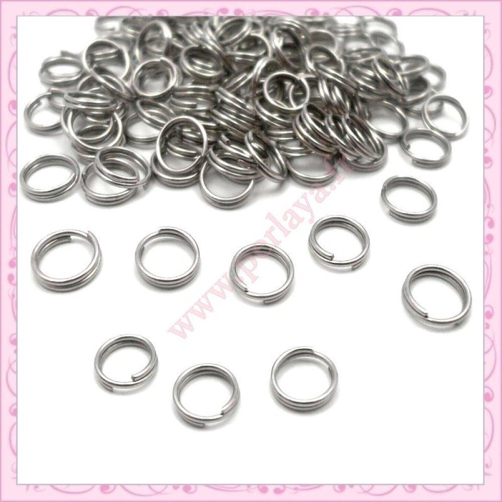 500 anneaux doubles 8mm argentés foncés en métal (Ref:002258)