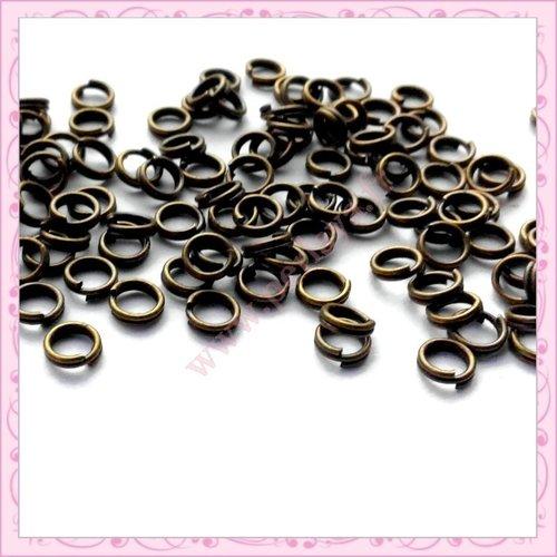 1000 anneaux doubles 4mm bronze en métal (ref:001548)