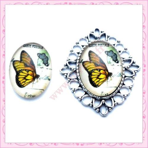 4 cabochons en verre oval 18x25mm papillon (ref:001652x4)