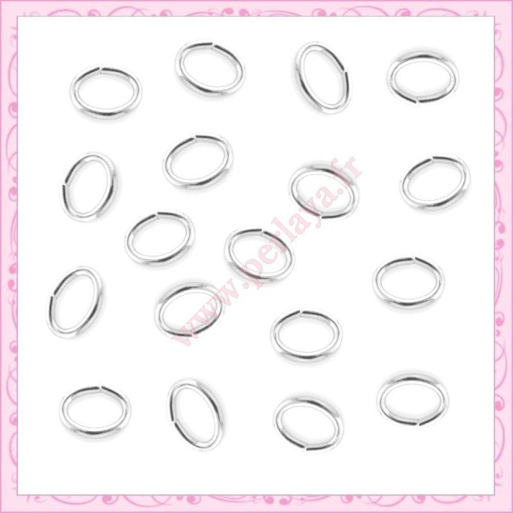 1000 anneaux argentés ovales 5mm (Ref:000364)