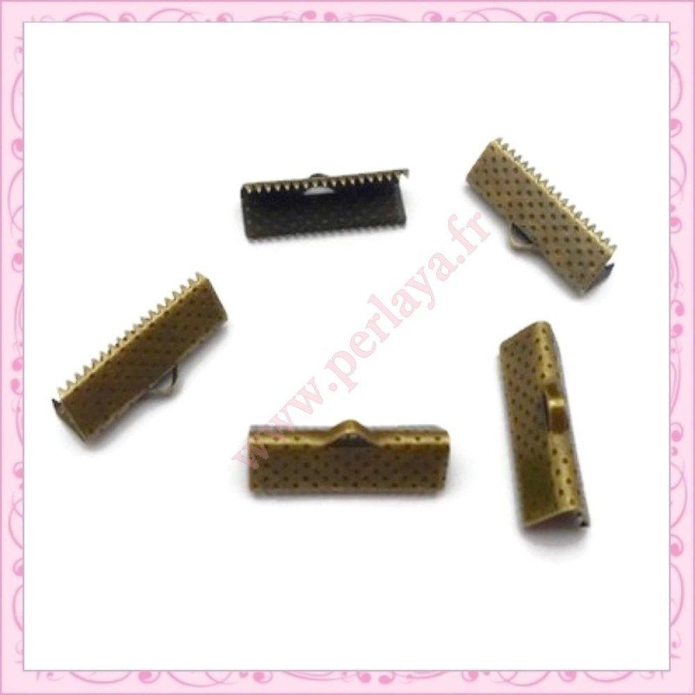 100 griffes ruban bronze 20mm en métal (Ref:000184)