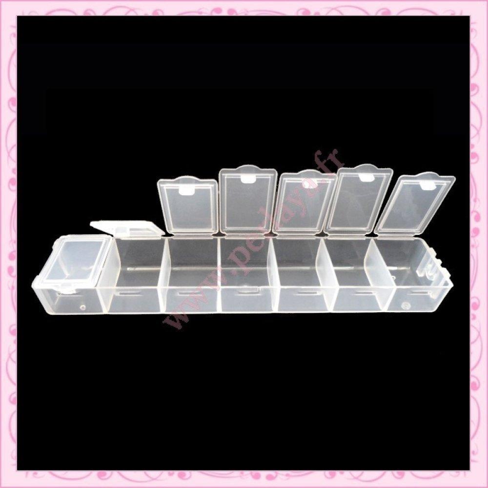 2 Boites de rangement 7 compartiments pour perles, nail art, loisirs créatif…. (Ref:001098)