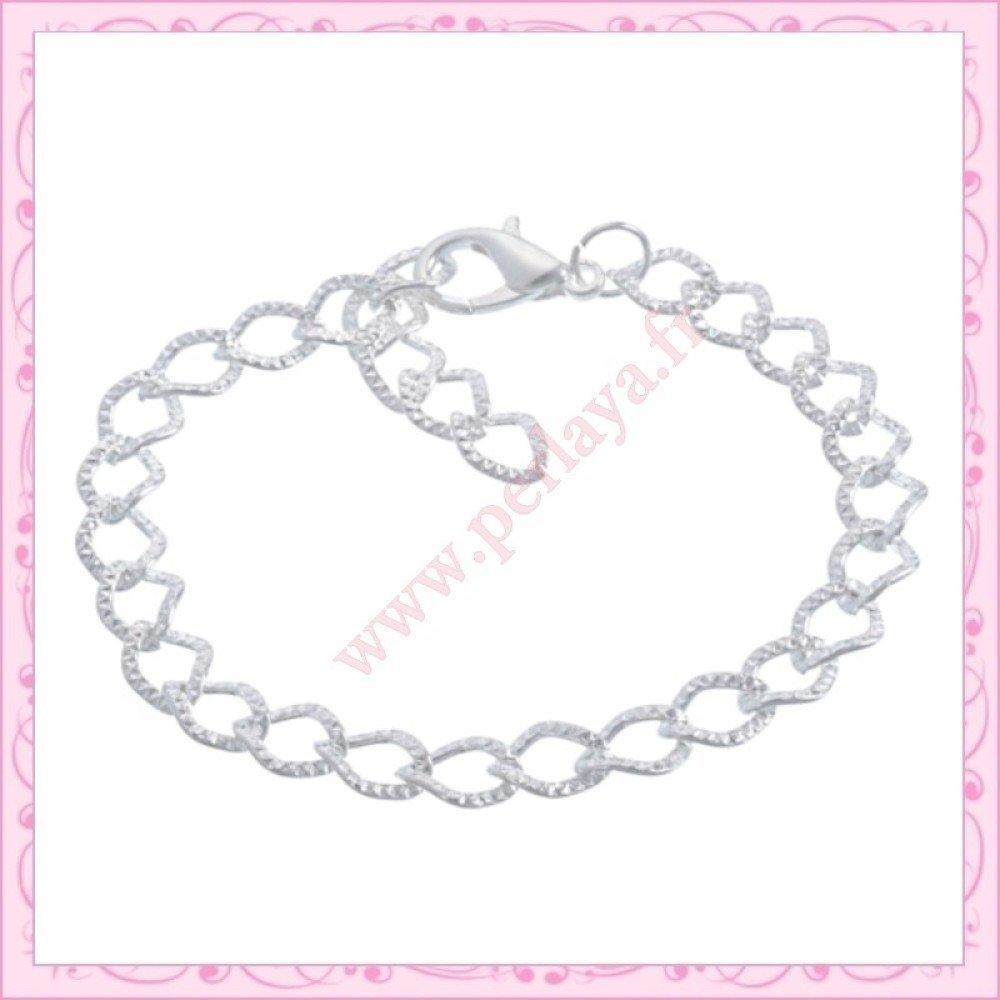 Lot de 24 bracelets à chaîne striées en métal argentés (Ref:000910X2)