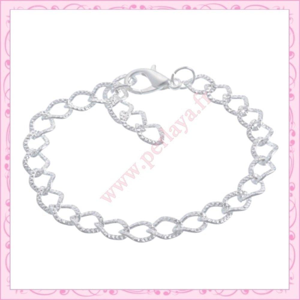 12 bracelets striés chaine en métal argenté (Ref:000509)
