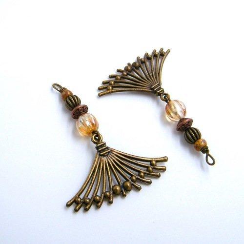 2 pendentifs pour création - loisirs créatifs - laiton bronze - verre - fait main - pièce unique