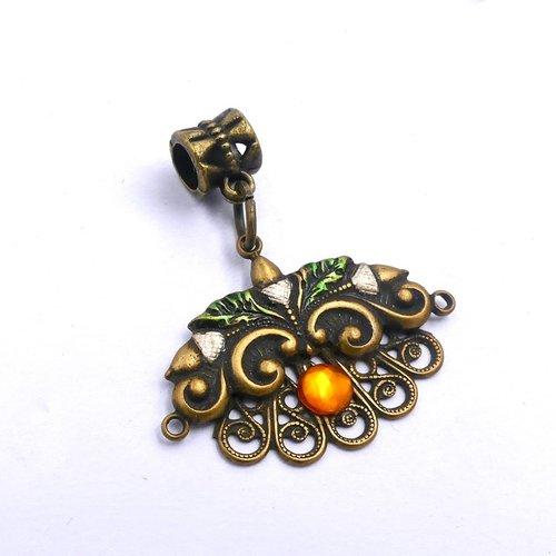 Pendentif métal bronze, bélière, cabochon acrylique givré, orange bronze, loisirs créatifs, fourniture bijoux