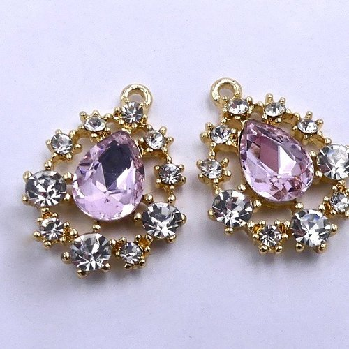 2 pendentifs esprit joaillerie, dorés, cabochons cristal rose et blancs, loisirs créatifs, fourniture bijoux, 23 x 17 mm