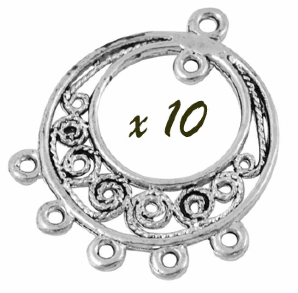 10 Connecteurs Intercalaires rond 5 trous en métal argenté col Rhodium