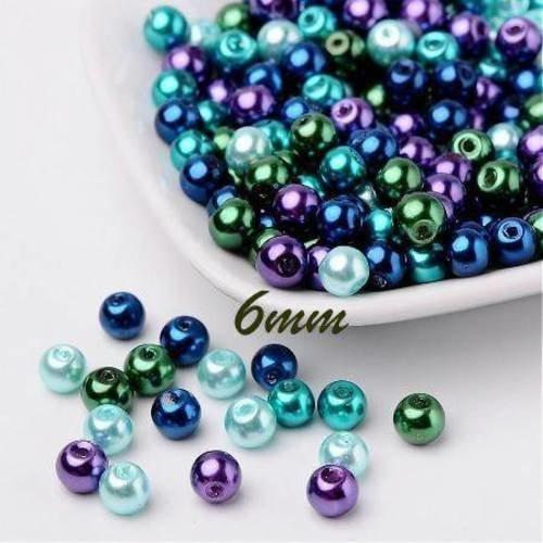 50 perles 6mm en verre nacrées mélange de bleu/vert/violet