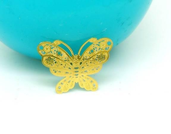 4 Estampes Papillon métal filigrané fin Doré