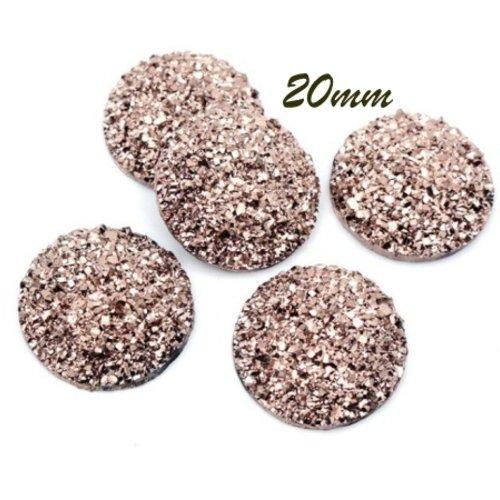 2 cabochons 20mm résine pailletée à coller or rose