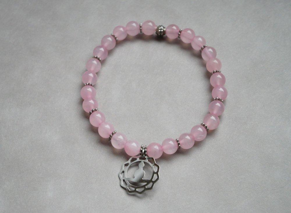 Bracelet Quartz rose et médaille zen yoga - bracelet perles 6mm lithothérapie