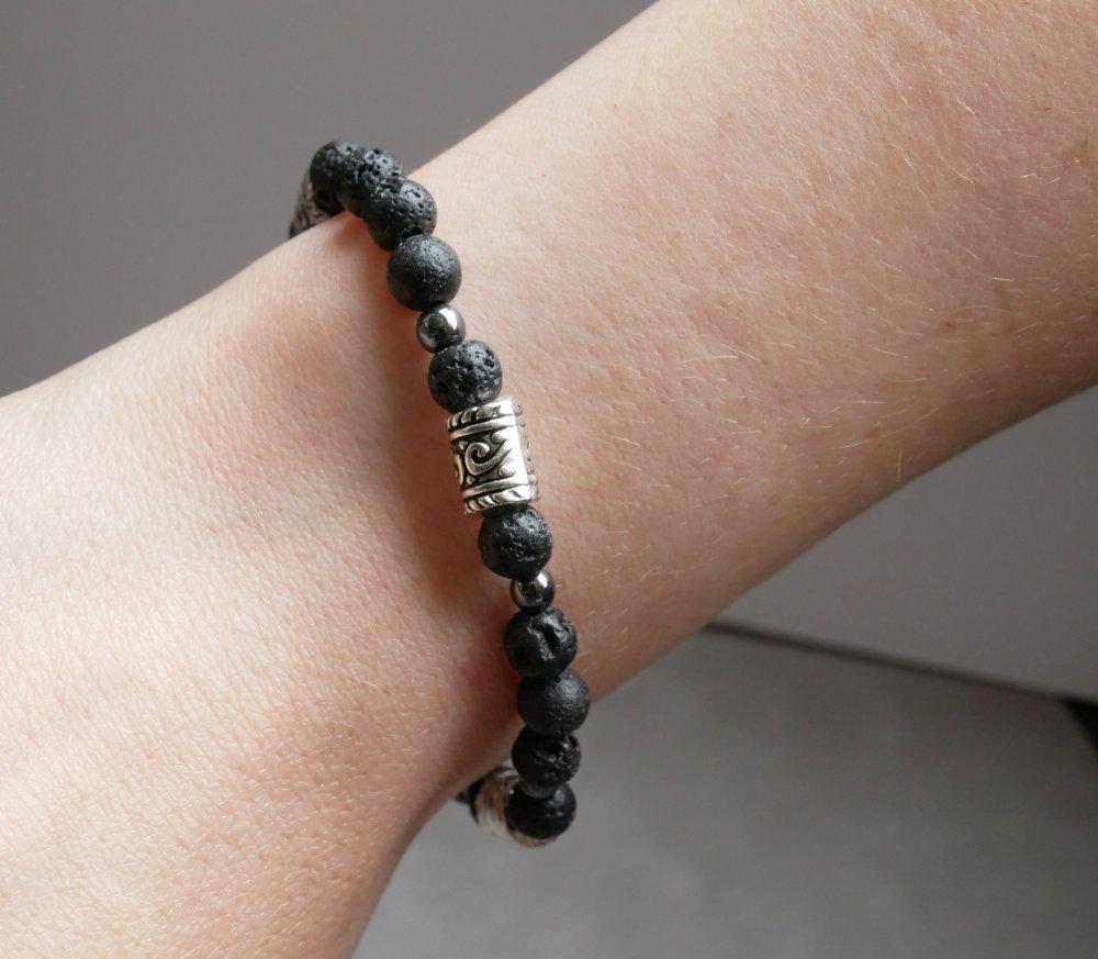 Bracelet Pierre de Lave noire et Hématite - bracelet perles 6mm lithothérapie