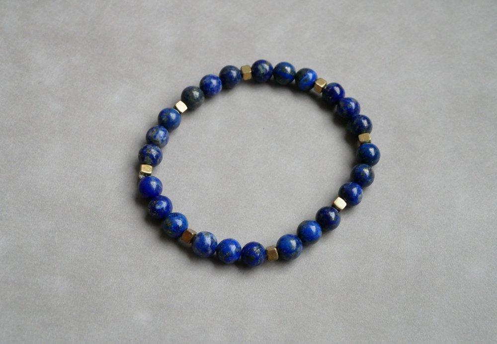 Bracelet Lapis-Lazuli et Hématite bronze - bracelet perles 6mm lithothérapie