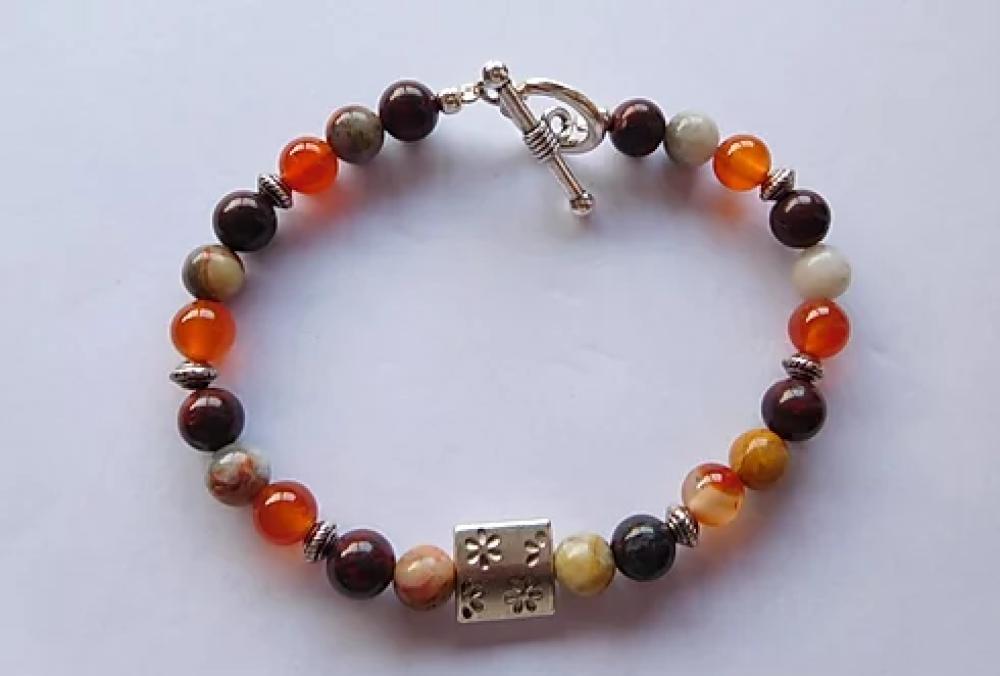 Bracelet Angelite et bouddha - bracelet perles 6mm lithothérapie