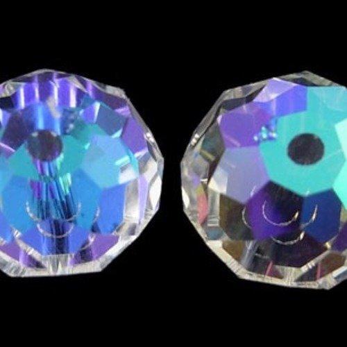 Perles facettées,forme  abaque 12x8mm reflet métallique incolore (x10)