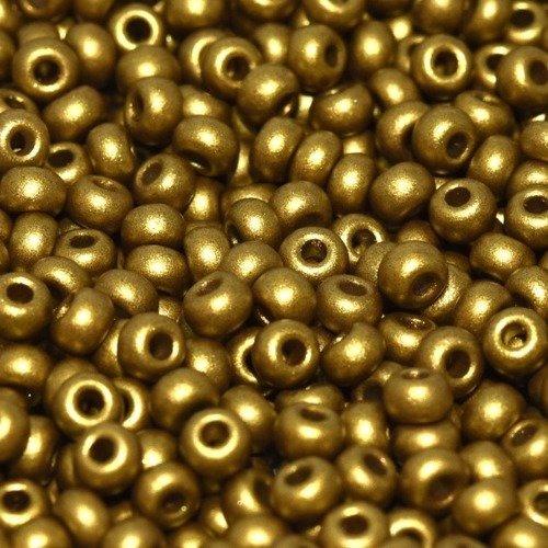 Rocaille en verre de bohème  8/0  olive gold  (x20g)