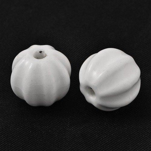 4 perles en porcelaine , en forme de citrouille ø13x12 ,blanc