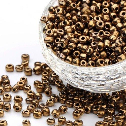 Perles de Rocailles en verre Opaque 4mm Vert Métallisé 20g 6//0