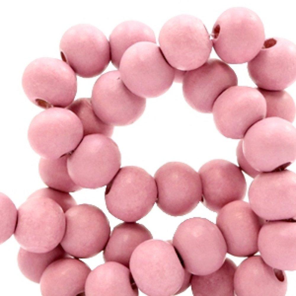 50 perles rondes en bois Ø 8mm couleur rose vintage