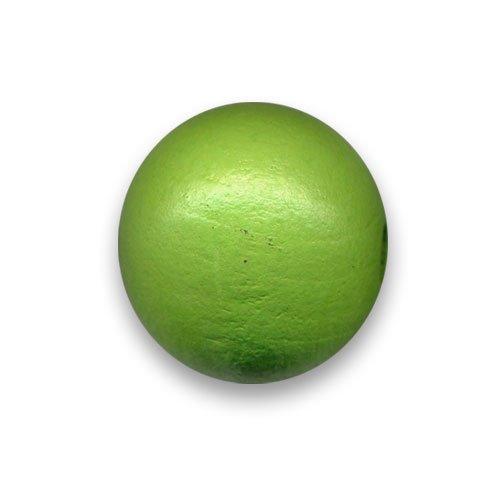 4 perles rondes en bois ø 25mm couleur verte